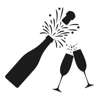 Bottiglia di champagne e icona di due bicchieri