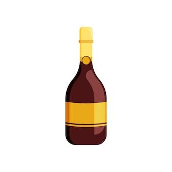 Bottiglia di champagne su sfondo bianco