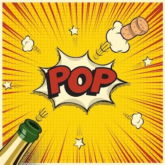 Bottiglia di champagne con tappo volante e parola pop, elemento di vacanza in stile fumetto o manga.