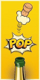 Bottiglia di champagne con tappo volante e parola pop, elemento di vacanza verticale in stile fumetto.