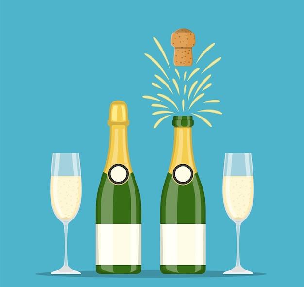 Bottiglie e bicchieri di champagne