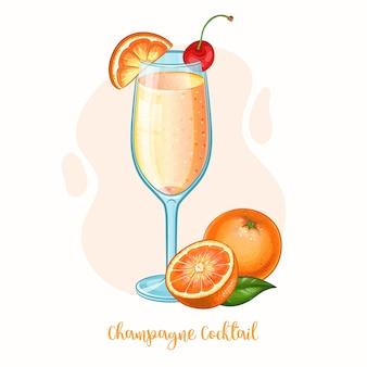 Bicchiere da cocktail champagne con arancia e ciliegia