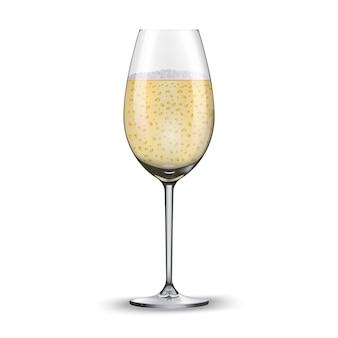 Bicchiere di champagne isolato su sfondo bianco.