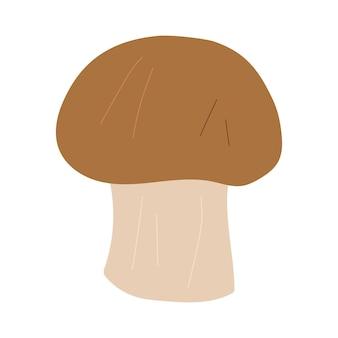 Illustrazione disegnata a mano del fumetto di vettore del fungo champignon isolato su priorità bassa bianca.