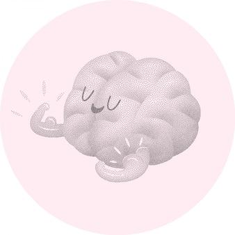 Champion il cervello mostrando i suoi bicipiti