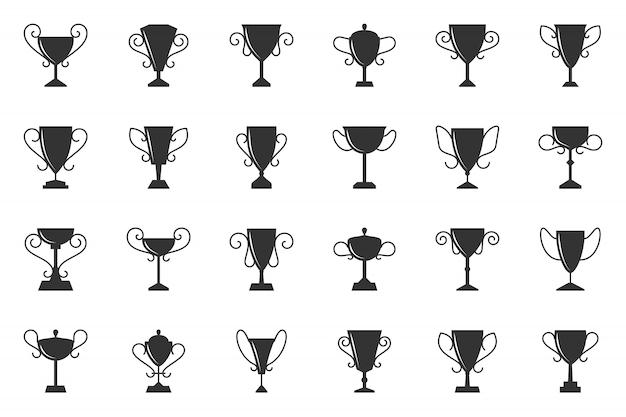 Trofeo coppa campione vincere simbolo glifo, set di icone sagoma nera.