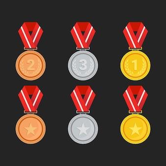Modello isolato medaglia d'oro argento e bronzo campione