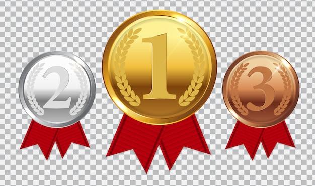 Medaglia d'oro, d'argento e di bronzo campione con nastro rosso. icona segno del primo, secondo e terzo posto isolato su trasparente.