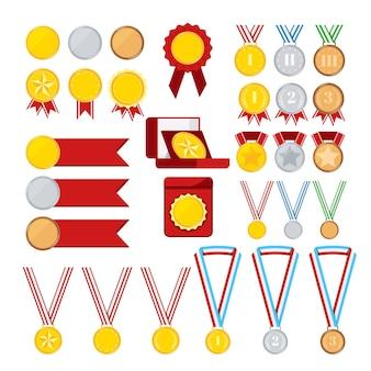 Set di medaglie campione isolato su sfondo bianco