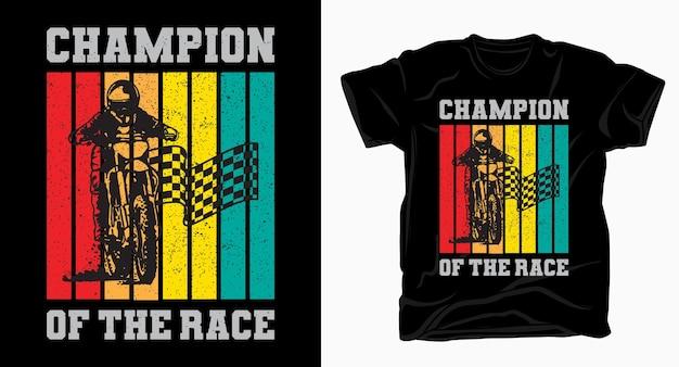 Campione della tipografia da corsa con t-shirt vintage pilota di motocross