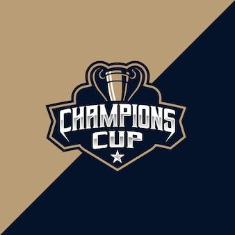 Modello di logo per sport e sport della champions cup