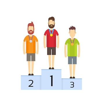 Champions su piedistallo con medaglie sportive Vettore Premium