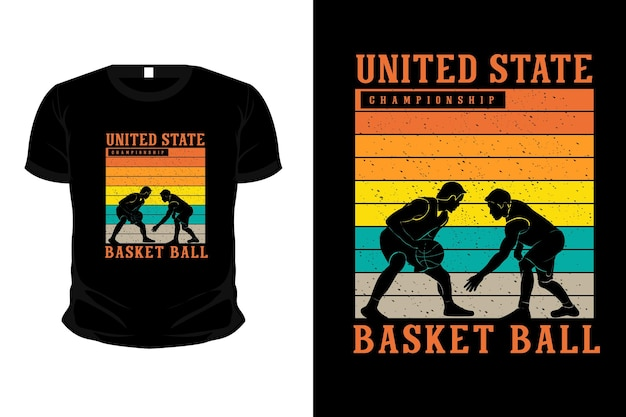 Design della maglietta del mockup della siluetta della merce della palla da basket del campionato