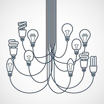 Lampadario realizzato con lampadine appese a corde