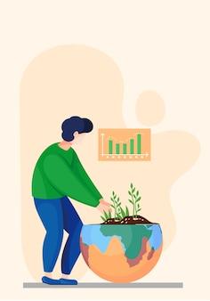 Cambia la fabbrica del clima. un uomo tiene un germoglio tra le mani, si prende cura della purezza della natura. protezione ambientale, pianeta pulito con energia verde. concetto ecologico le persone si preoccupano della terra