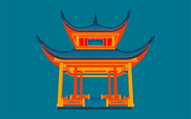 Punto di riferimento di changsha love evening pavilion illustrazione delle antiche attrazioni architettoniche cinesi