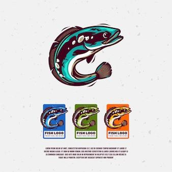 Channa testa di serpente logo illustrazione premium vector