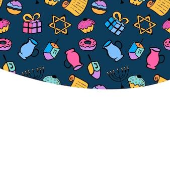 Chanukah. un insieme di attributi tradizionali della menorah, dreidel, olio, torah, ciambella. biglietto di auguri in stile scarabocchio.