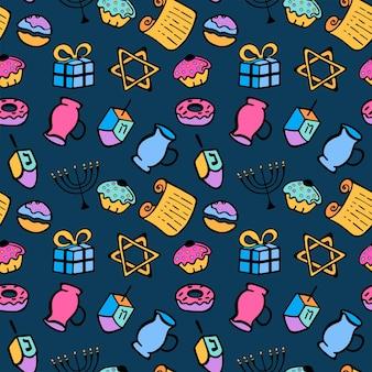 Chanukah. un insieme di attributi tradizionali della menorah, dreidel, olio, torah, ciambella. modello senza cuciture in stile scarabocchio.