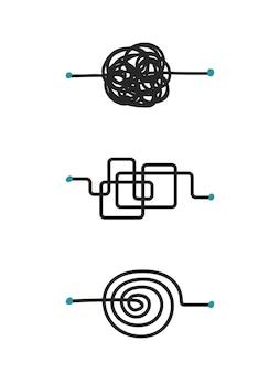 Vettore di schizzo di doodle di linea di processo caotico isolato su sfondo bianco
