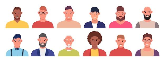 Set di avatar di personaggi. gli uomini stanno sorridendo. persone multiculturali per la progettazione del profilo. illustrazione vettoriale.