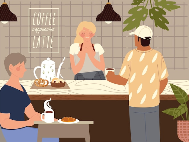 Il barista del personaggio vende il caffè al cliente e la donna che mangia l'illustrazione