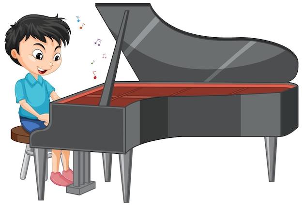 Carattere di un ragazzo che suona il pianoforte su bianco
