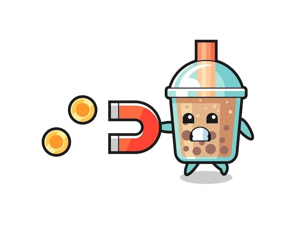 Il personaggio del bubble tea tiene una calamita per catturare le monete d'oro, un design in stile carino per maglietta, adesivo, elemento logo