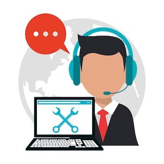 Lavoro professionale di call center di carattere