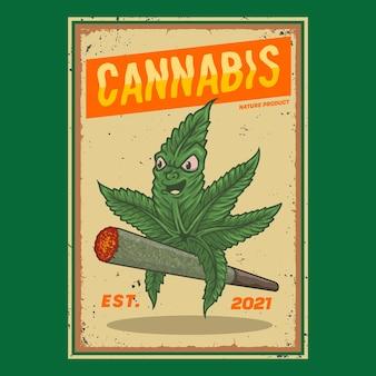 Personaggio cannabis in sella a una sigaretta
