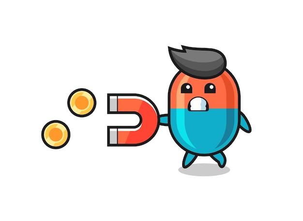 Il personaggio della capsula tiene un magnete per catturare le monete d'oro, un design in stile carino per maglietta, adesivo, elemento logo