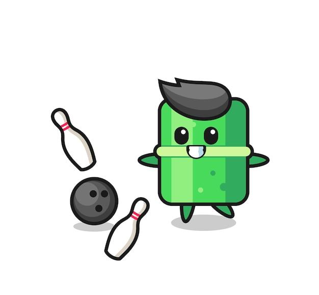 Il personaggio dei cartoni animati di bambù sta giocando a bowling, design in stile carino per maglietta, adesivo, elemento logo