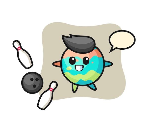 Il personaggio dei cartoni animati della bomba da bagno sta giocando a bowling, un design in stile carino per maglietta, adesivo, elemento logo