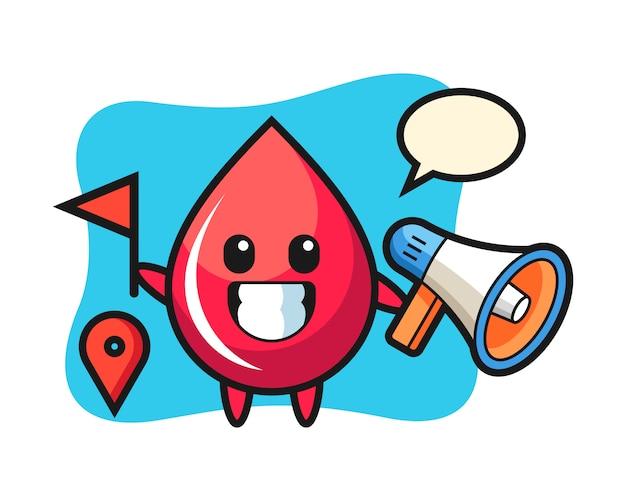 Personaggio dei cartoni animati di goccia di sangue come guida turistica, stile carino, adesivo, elemento del logo
