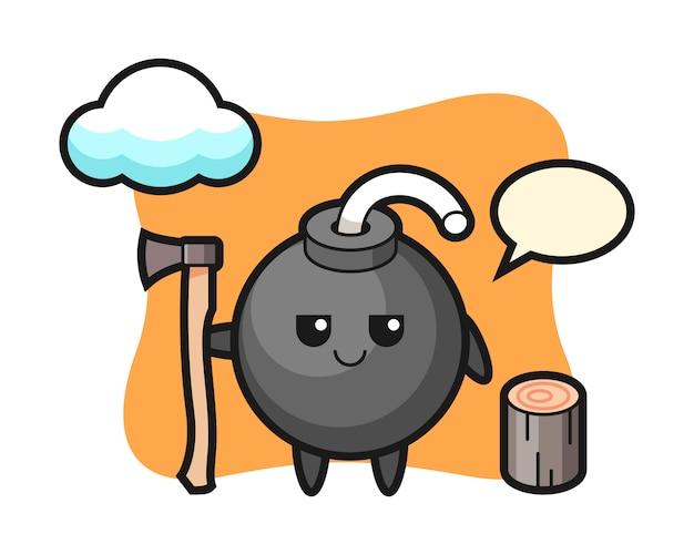 Personaggio dei cartoni animati della bomba come taglialegna