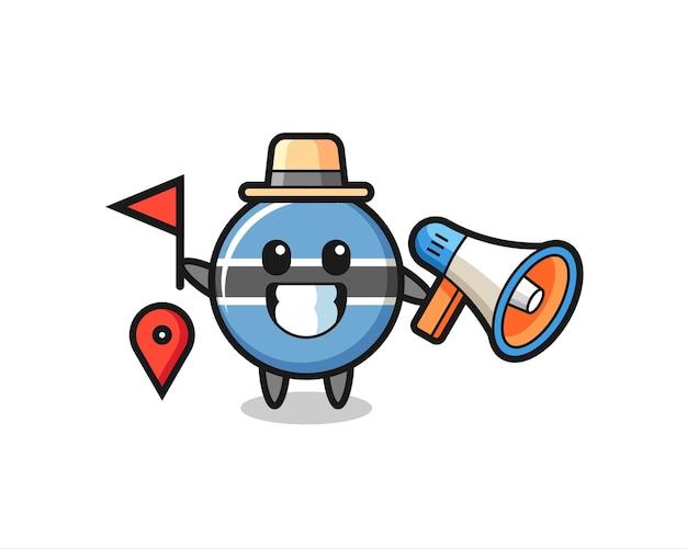 Personaggio dei cartoni animati del distintivo della bandiera del botswana come guida turistica, design in stile carino per maglietta, adesivo, elemento logo