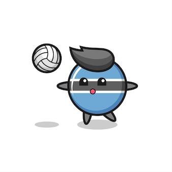 Il personaggio dei cartoni animati del distintivo della bandiera del botswana sta giocando a pallavolo, design in stile carino per maglietta, adesivo, elemento logo