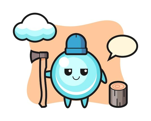 Personaggio dei cartoni animati di bolla come un taglialegna, design in stile carino