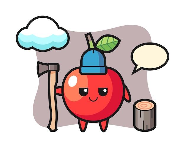 Personaggio dei cartoni animati di ciliegia come un taglialegna, design in stile carino