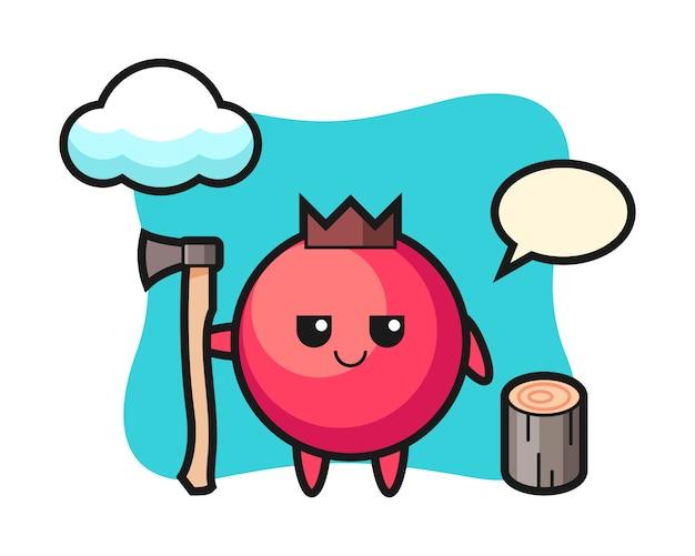 Personaggio dei cartoni animati di mirtillo rosso come taglialegna, stile carino, adesivo, elemento del logo