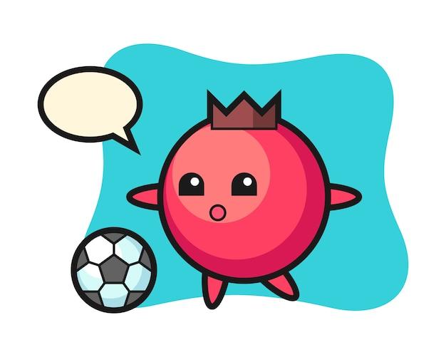 Personaggio dei cartoni animati di mirtillo rosso sta giocando a calcio, stile carino, adesivo, elemento del logo
