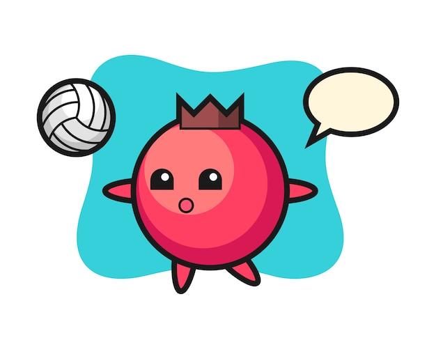 Personaggio dei cartoni animati di mirtillo rosso sta giocando a pallavolo, stile carino, adesivo, elemento logo