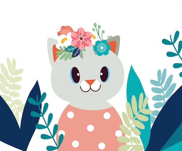 Gatto sveglio del fumetto del carattere in giardino floreale