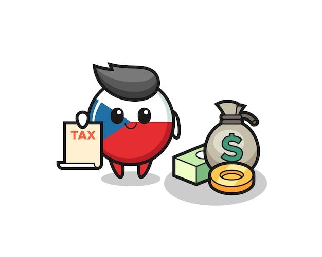 Personaggio dei cartoni animati del distintivo della bandiera ceca come contabile, design in stile carino per maglietta, adesivo, elemento logo