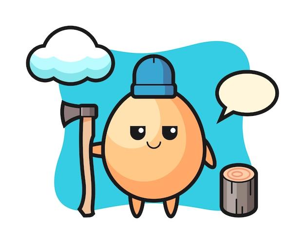 Personaggio dei cartoni animati di uovo come un taglialegna, design in stile carino per t-shirt, adesivo, elemento logo