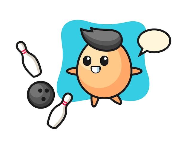Personaggio dei cartoni animati di uovo sta giocando a bowling, design in stile carino per maglietta, adesivo, elemento logo