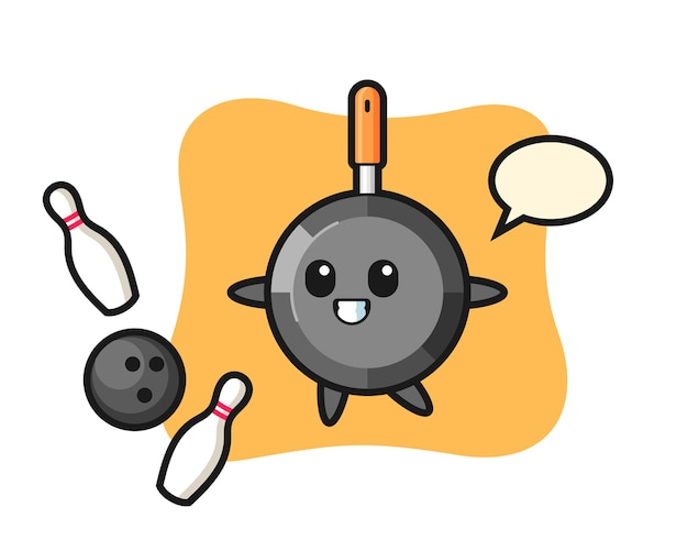 Personaggio dei cartoni animati della padella sta giocando a bowling