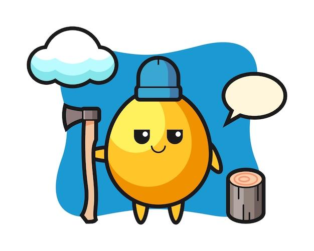 Personaggio dei cartoni animati di uovo d'oro come un taglialegna, design in stile carino