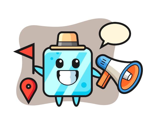 Personaggio dei cartoni animati del cubetto di ghiaccio come guida turistica