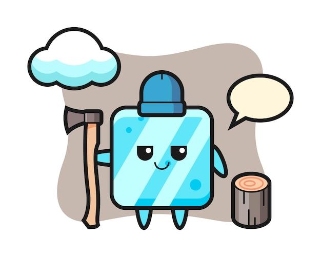 Personaggio dei cartoni animati del cubetto di ghiaccio come taglialegna